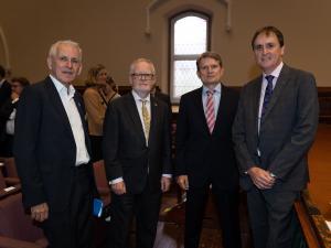 Richard Pomfret,Breandán Ó Caollaí (Ambassador of Ireland), Michael Pulch (EU Ambassador) and Anthony Elliott (Executive Director, Jean Monnet Centre of Excellence & Network, UniSA