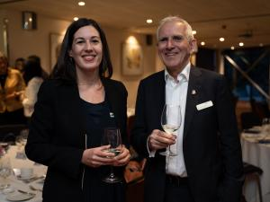 Richard Pomfret and Julie Le Saos (Deputy Head of Mission at the Embassy of France)